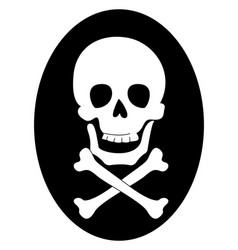skull with bones on white background vector image