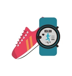 Sneaker and heart rate wrist monitor icon vector