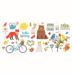Spring set collection of cute animals birds vector