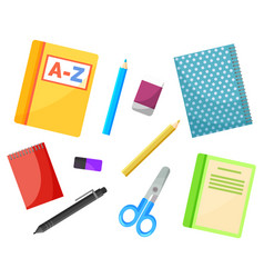 stationery supply school textbooks and copybooks vector image