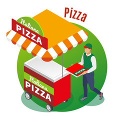 street food pizza isometric background vector image