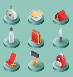 Survival kit color isometric icons vector