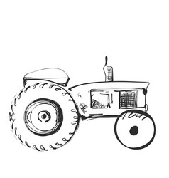 tractor on white background free hand drawn vector image