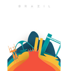 Travel brazil 3d paper cut world landmarks vector