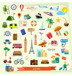 Travel icon set flat design vector image vector image
