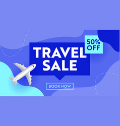 travel sale advertising banner with airplane vector image