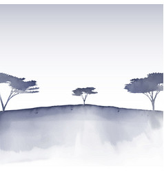 Watercolour tree landscape vector
