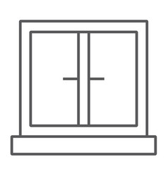 Window thin line icon architecture and home vector