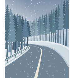 Winter landscape with forest snow and road vector