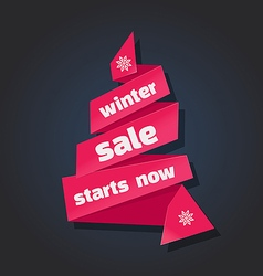 winter sale banner in paper vector image