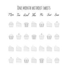 Without sweets cakes and muffins tracker vector