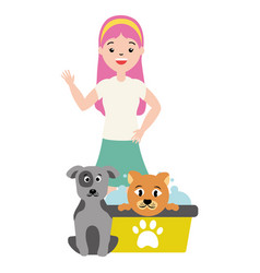 Woman and animals pet grooming vector