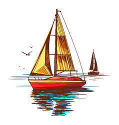 Yachts and seagulls on background sea vector
