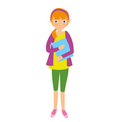 young female student going to college vector image