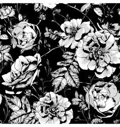 Black and White Floral Seamless Background vector image vector image