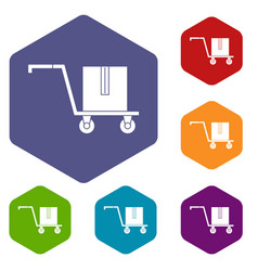 Delivery cart with box icons set hexagon vector