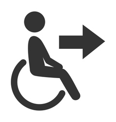 Disability man pictogram flat icon exit isolated vector image