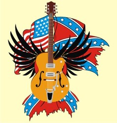 electric guitar and flag vector image vector image