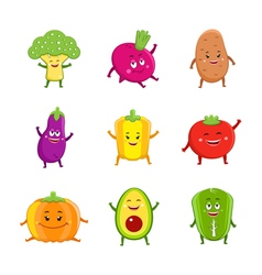 Funny vegetables characters cartoon set vector image vector image