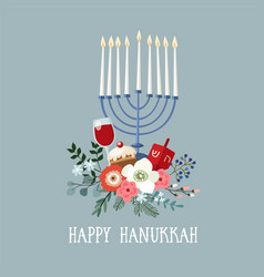 happy hanukkah greeting card invitation with hand vector image