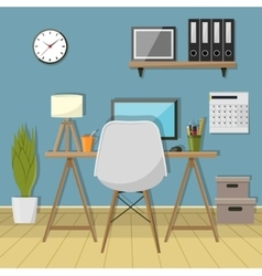 modern workplace in room Creative vector image vector image