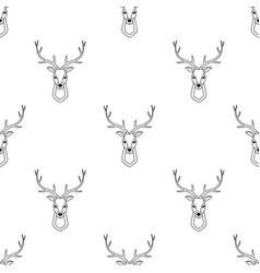 seamless pattern with deer head vector image vector image