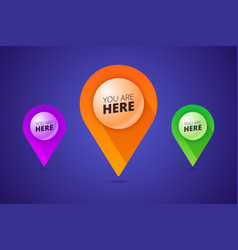 you are here signs with map pointer pin shape and vector image vector image