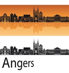 Angers skyline in orange background vector image vector image