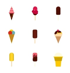 Cool treat icons set flat style vector