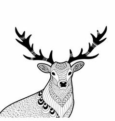 creative doodle of wild deer hand vector image vector image