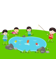 little Kid Fishing vector image