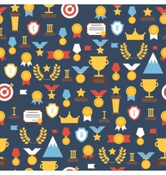 Seamless pattern of award icons colorful set of vector image