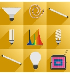 Set icon phyto led equipment light for plants vector image vector image
