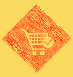 shopping cart with check mark sign red vector image
