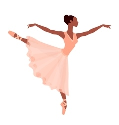 Stylized silhouette of ballerina in dress on white vector image vector image