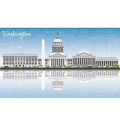 Washington DC Skyline with Gray Buildings vector image