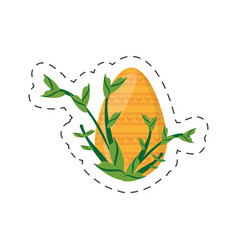 easter yellow egg branch plant - cut line vector image
