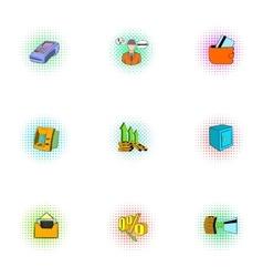 Finance icons set pop-art style vector image