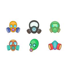 gas mask icon set cartoon style vector image