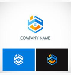 home roof polygon company logo vector image