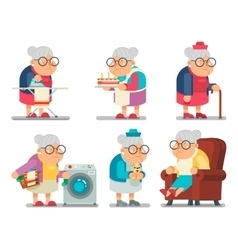 Household Granny Old Lady Character Cartoon Flat vector image