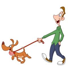 man walking dog vector image vector image