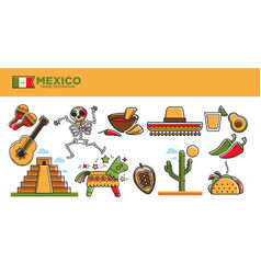 mexico travel tourism famous landmarks and tourist vector image vector image