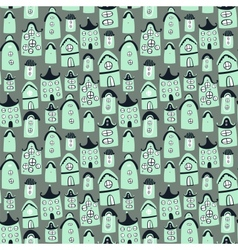 Cute seamless pattern with cartoon houses vector image