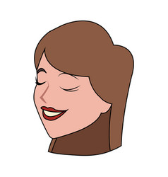 pretty brunette woman icon image vector image