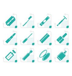 stylized make-up icon set vector image vector image