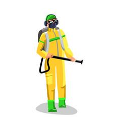 Agricultural worker spraying pesticide vector