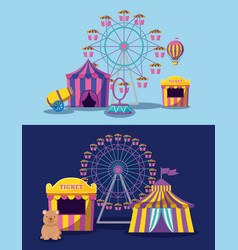 Amusement park with tents circus and icons vector