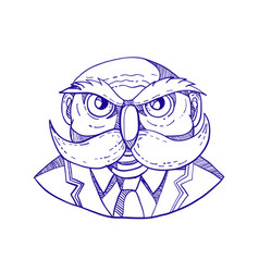 Angry owl man mustache doodle vector