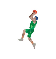 Basketball Player Jump Shot Ball Low Polygon vector image